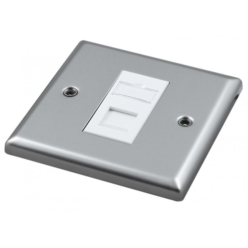 Singlegang Metal Faceplate with 1 Cat6 UTP Module Module